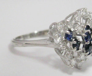 1.15 TCW Natural Blue Sapphire & Diamond Accents Waterfall Ring Size 6 14k