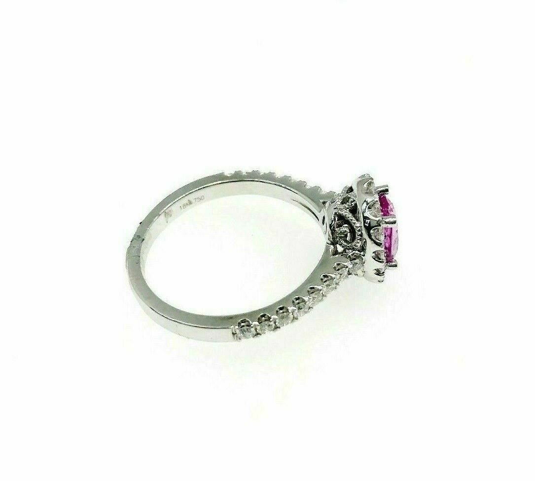 1.63 Carats t.w. Diamond and Pink Sapphire Halo Wedding/ Anniversary Ring 18K