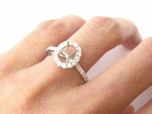 4 Prongs Semi-Mounting for Oval Diamond Bridal Ring 18k White Gold