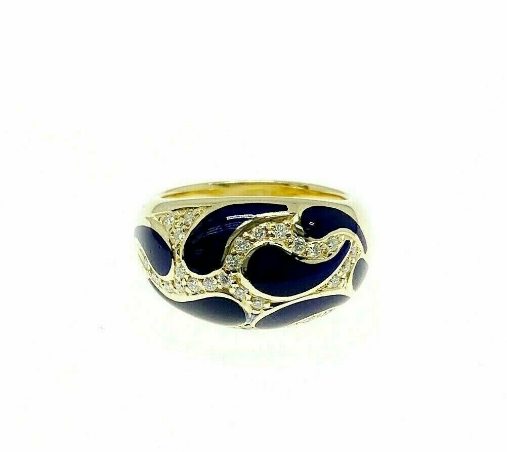 0.30 Carats Round Diamond Pave Set Paisley Enamel Anniversary Ring 18K Gold