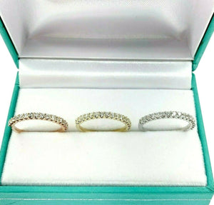 1.29 Carat t.w. Diamond 3 Ring Stack/Wedding/Anniversary Set 14K Tri Color Gold
