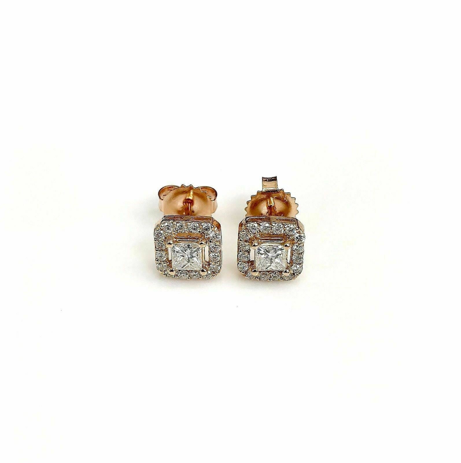 0.85 Carats t.w. Princess and Round Diamond Halo Earrings 14K Pink Rose Gold New
