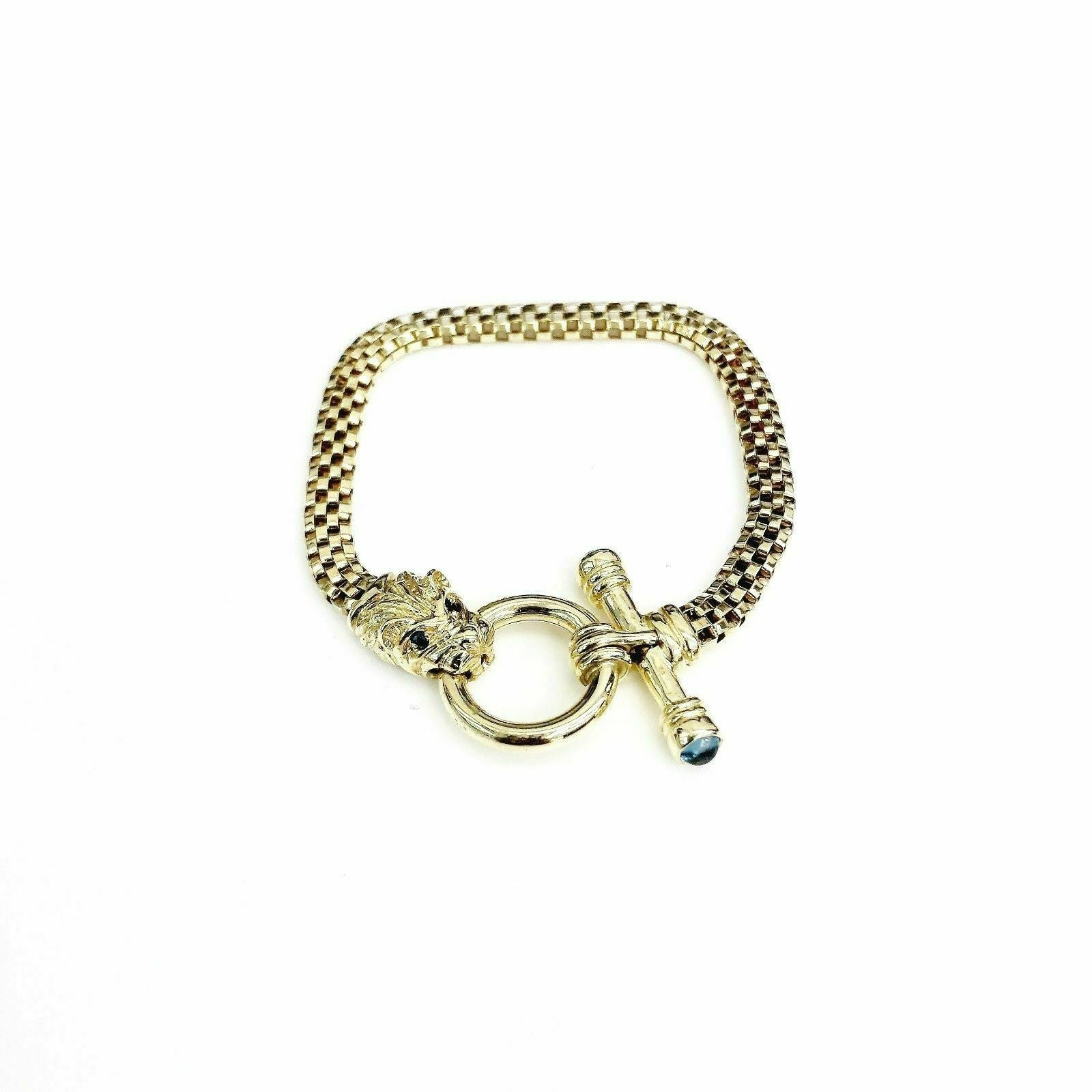 14K Yellow Gold Cabochon Topaz and Blue Sapphire Lion Bracelet