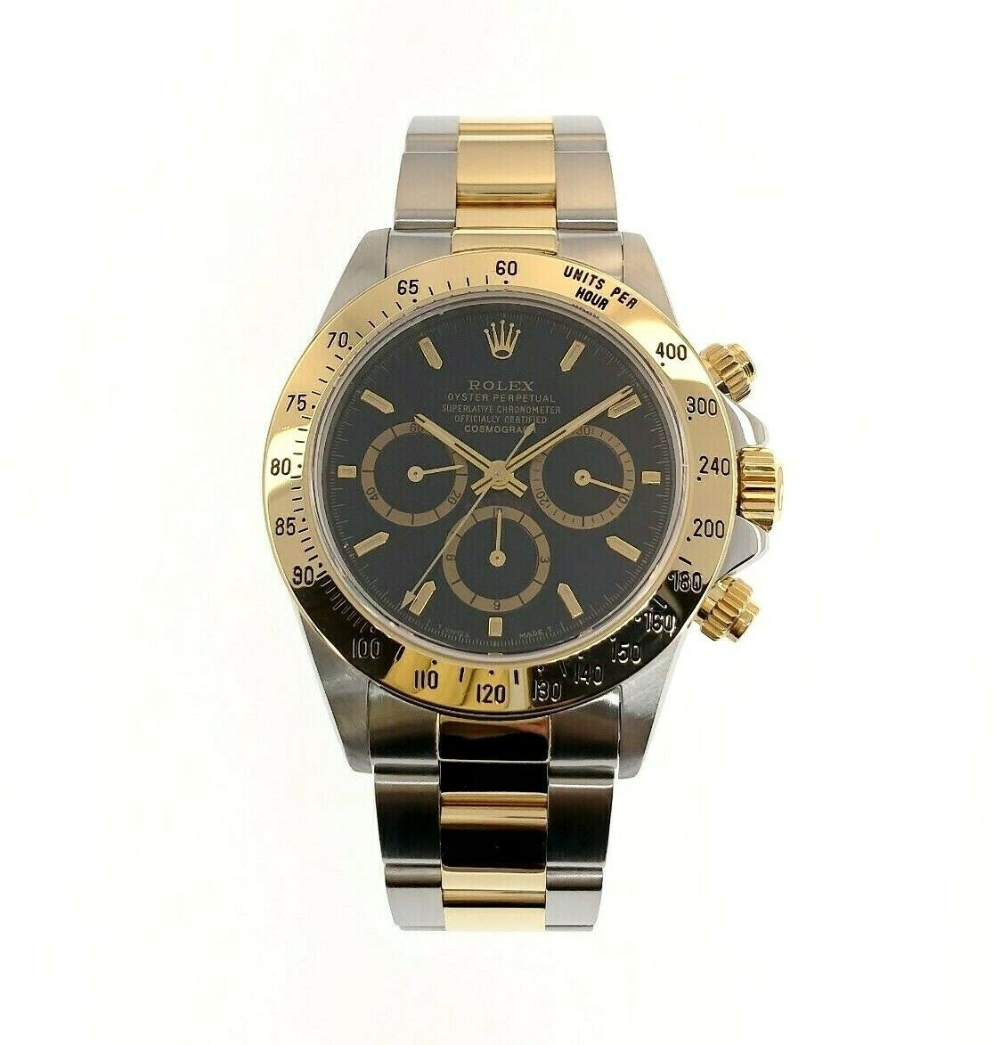 Rolex Cosmograph Daytona 40mm 18K Yellow Gold Steel Watch Ref 16523 U Serial