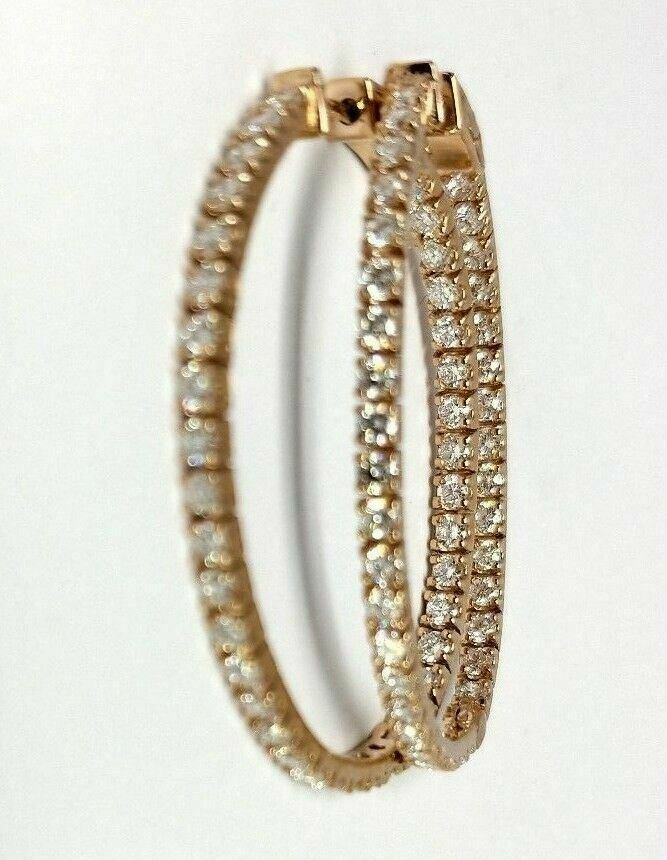 2.72 ct Diamond Hoop Eternity Inside Out 14K Rose Gold Earrings