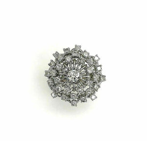2.20 Carats t.w. Round Diamond Anniversary Cluster Ring 14K Gold 1 Inch Diameter