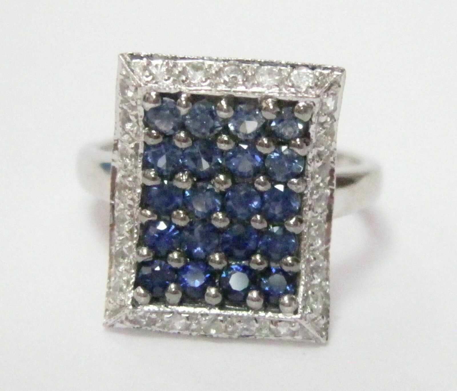 2.0 TCW Natural Blue Sapphire & Diamond Accents Ring Size 5 14k White Gold