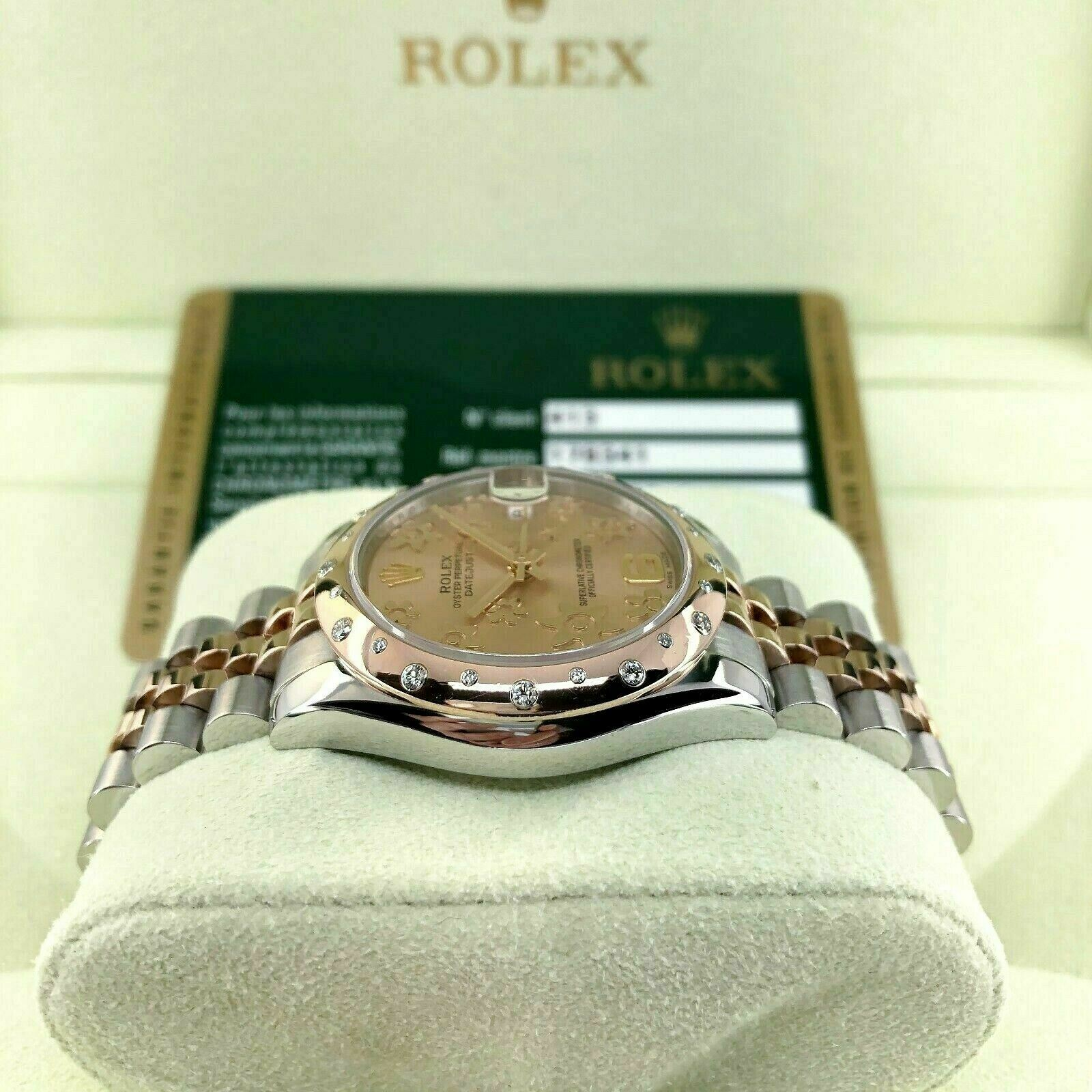 Rolex 31MM Datejust 18K Rose Steel Watch Ref # 178341 Factory Diamond Bezel