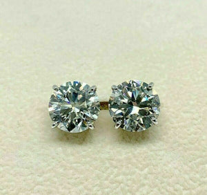 7.27 Carats GIA J VS2 AGS JSI1 Diamond Stud Earrings Ideal Ex Ex Cuts 14K Gold