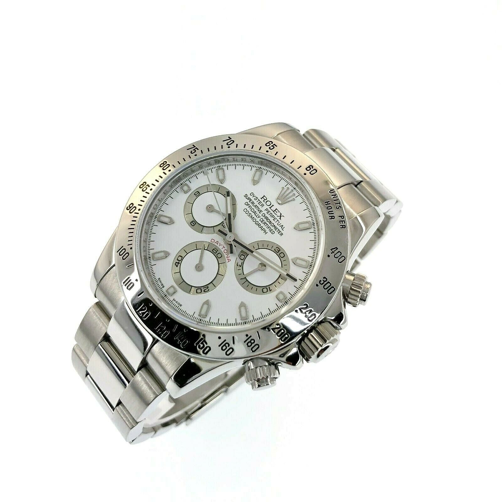 Rolex Cosmograph Daytona 40mm Stainless Steel Watch Ref 116520 Box & Papers