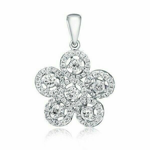 0.94 TCW Flower Diamond Pendant 18K White Gold SI-Clarity G-Color