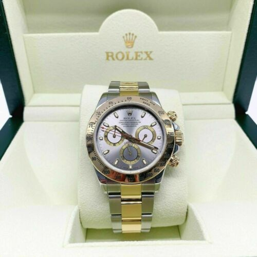 Rolex Daytona 40mm Cosmograph Watch 18K Gold/Stainless Ref 116523 F Serial