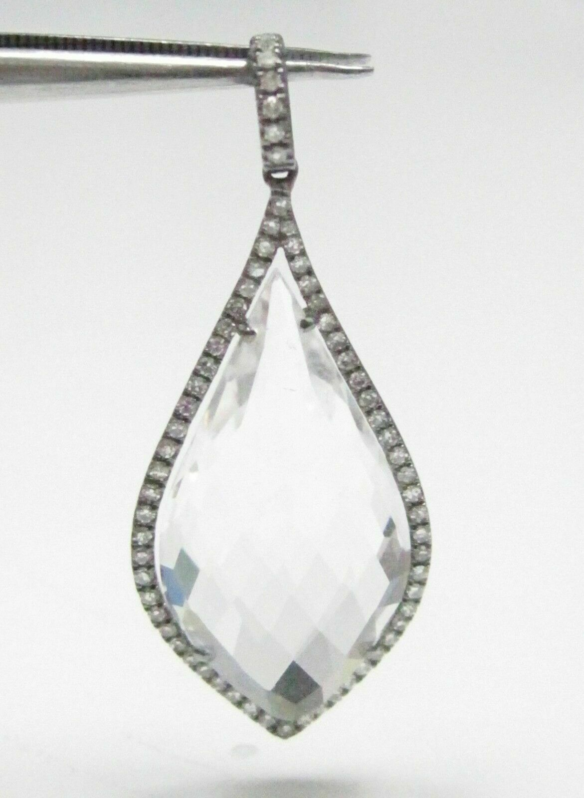 11.54 TCW White Topaz Round Brilliant Diamond Pear Drop Pendant 14kt White Gold