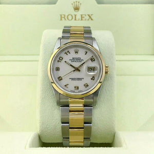 Rolex 36 MM Datejust Watch 18K Yellow Gold Stainless Steel Ref 16203 W Serial
