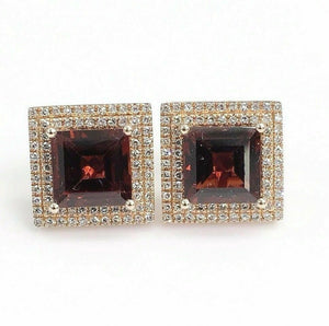 4.34 Carats t.w. Garnet and Diamond Double Halo Stud Earrings 14K Rose Gold New