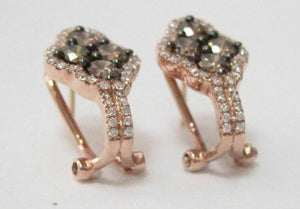 1.60 TCW Round Brilliant Cut Champagne Diamond Huggie Earrings 14k Rose Gold