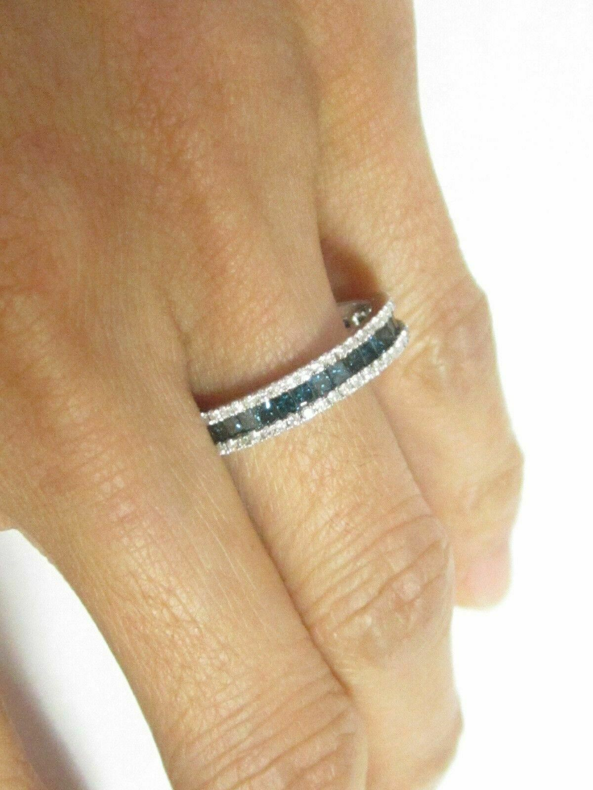 1.75 TCW Natural Round Cut Blue Diamond Eternity Band/Ring Size 5.5 14k W-Gold