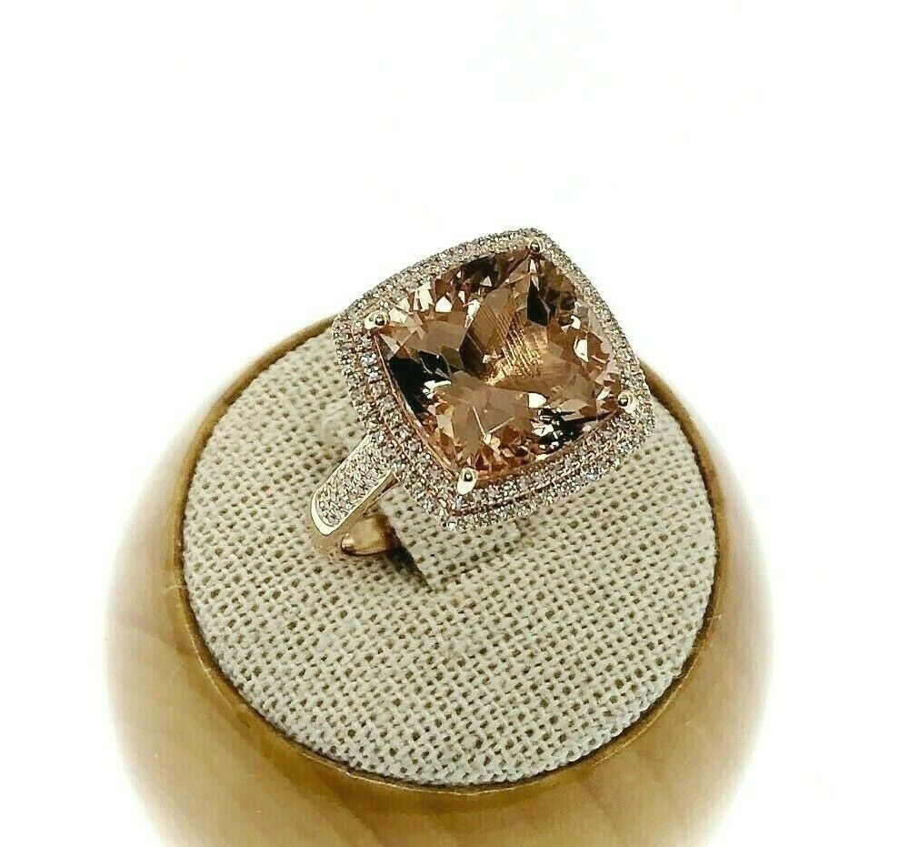7.90 Carats Diamond and Cushion Morganite Halo Celebration Ring 14K Rose Gold