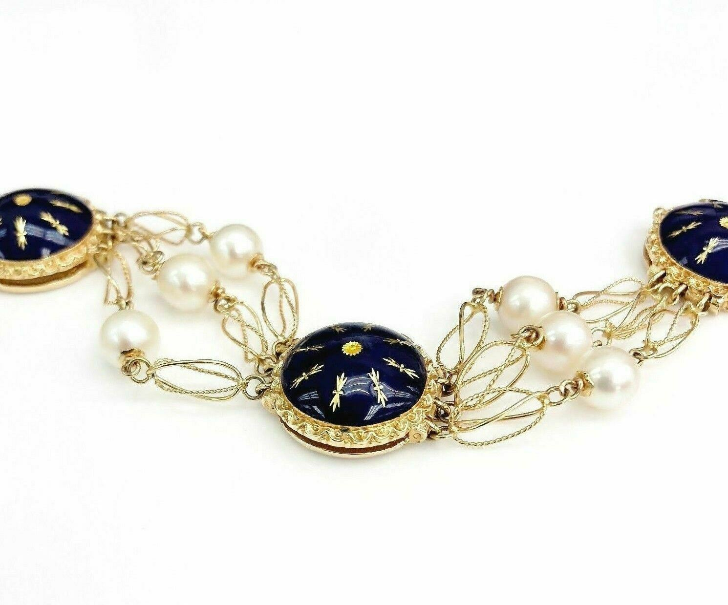 18K Yellow Gold Vintage Pearl with Amazing Enamel Work Bracelet Italian Made