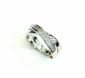 0.60 Carats t.w. Princesss Cut Diamond Bypass Channel Set Ring 14K White Gold