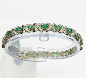5.29 Carats t.w. Emerald and Diamond Tennis Bracelet 14K2Tone Gold 5 Cts Emerald