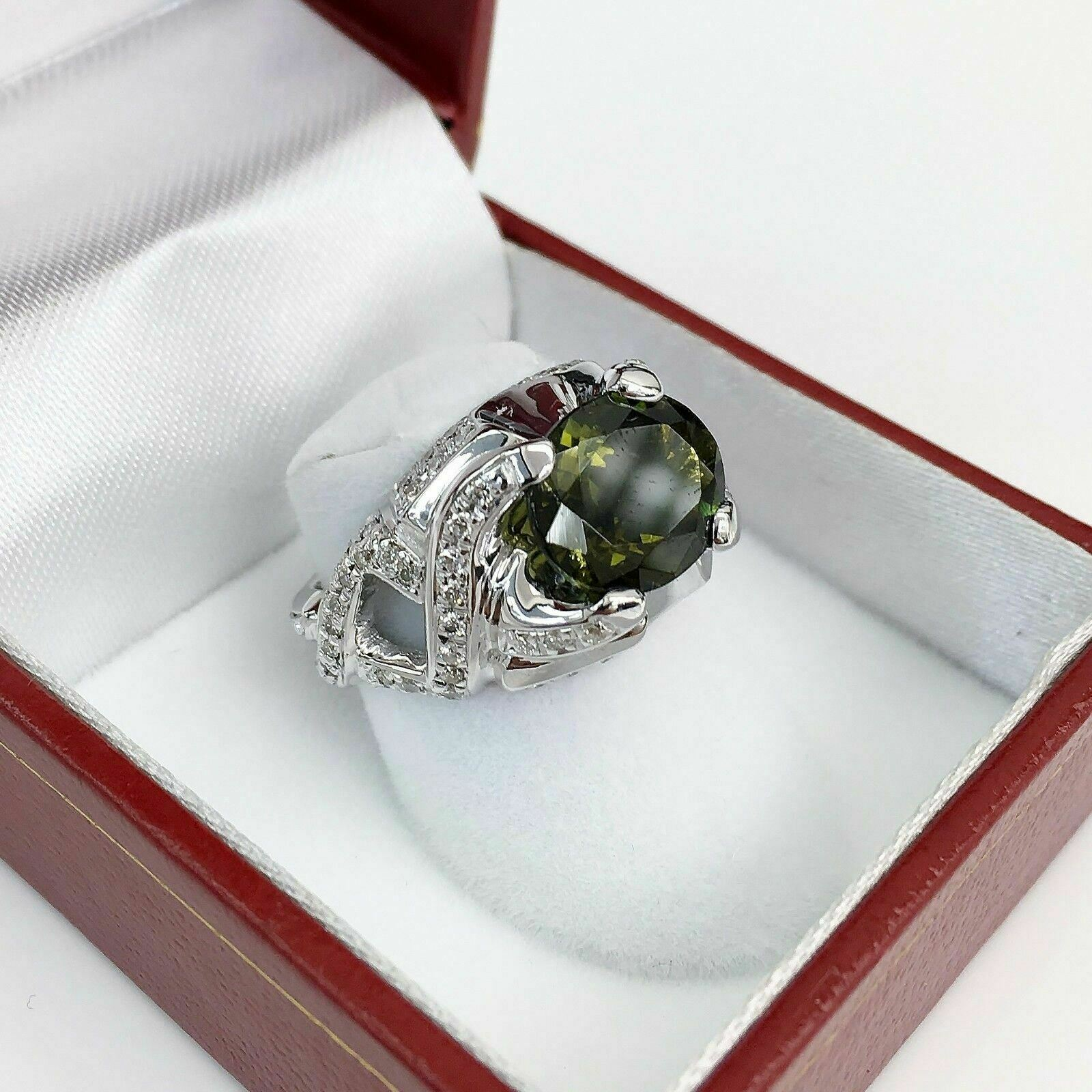 4.02 Carats t.w. Diamond & Tourmaline Celebration Cocktail Ring Center is 3.14CT