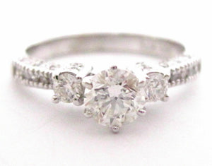1.09 TCW Round Diamond Solitaire Engagement/Anniversary Ring Size 7 G VS2 14k