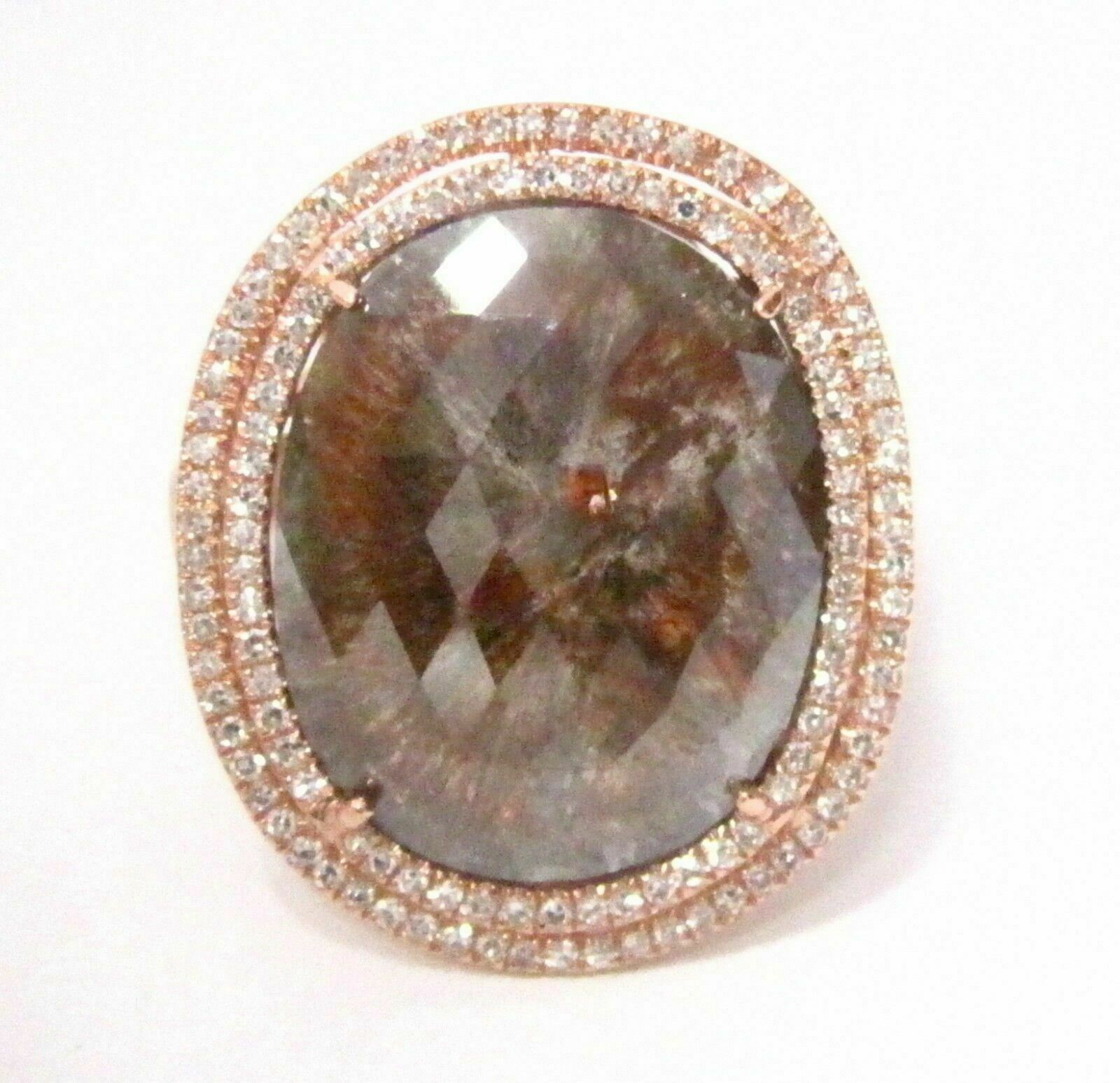 6.14 TCW Oval Brown Diamond w/ Accents Cocktail Ring Size 6.5 14k Rose Gold