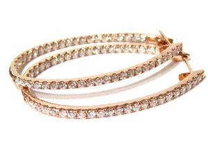 Fine 27mm Oblong Hoops In & Out Diamond Earrings G VS-2 18kt Rose Gold