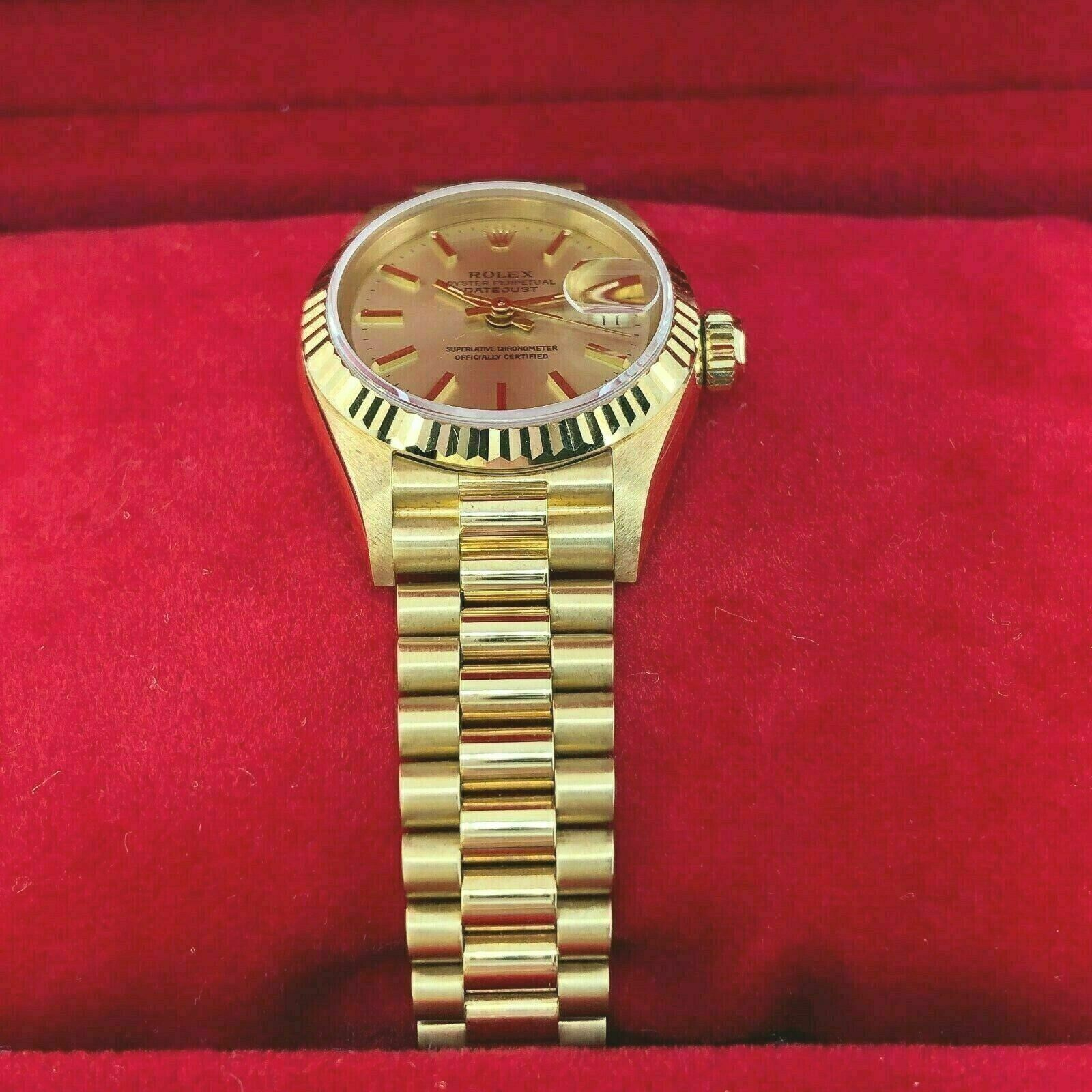 Rolex 26MM Lady President Datejust 18 Karat Yellow Gold Watch Ref # 69178 Papers