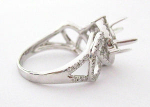 4 Prongs Hallow Semi-Mounting for Round Cut Diamond Ring Engagement 18k W/G