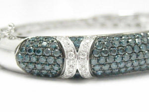 5.0 TCW Natural Blue and White Diamond Bangle/Bracelet 14k White Gold