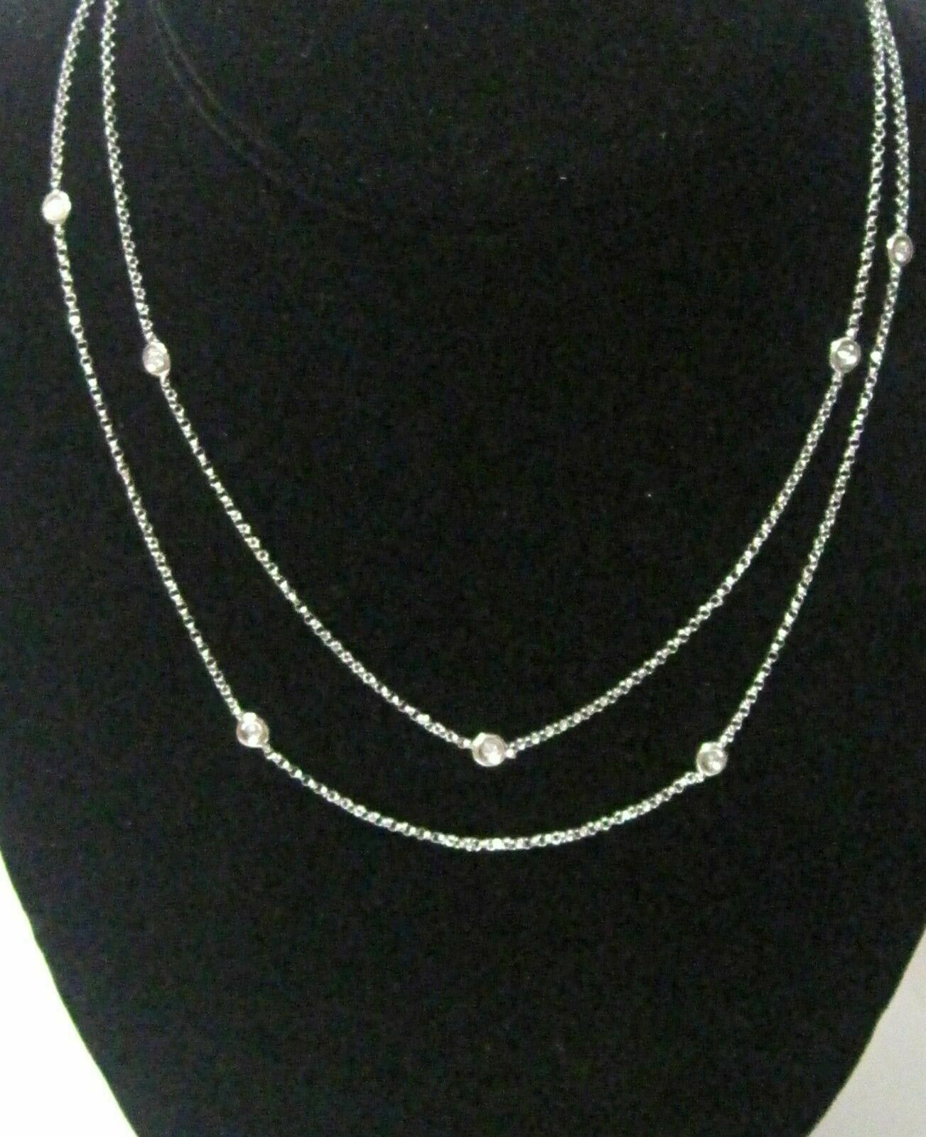 ".60 TCW 31"" Diamond By The Yard Bezel Strand Necklace G SI1 18k White Gold"