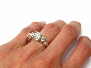 1.58 TCW 3 Stone Round Diamond Engagement/Anniversary Ring Size 6.5 14k Gold