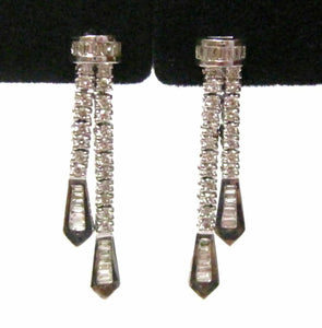 1.25 TCW Double Strand Baguette & Round Diamond Dangling Earrings 18k White Gold