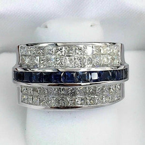 3.55 Carats t.w. Diamond and Sapphire Invisible Set Ring 18K Gold 17.5 Grams