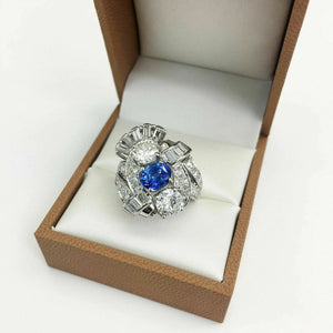 Antique Diamond and Sapphire Wedding/Anniversary Ring Platinum 4.41 Carats t.w.