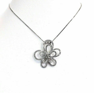 1.44 Carats t.w. Diamond Blossom Pendant 0.44 Ct Center 14K Gold Pendant Chain