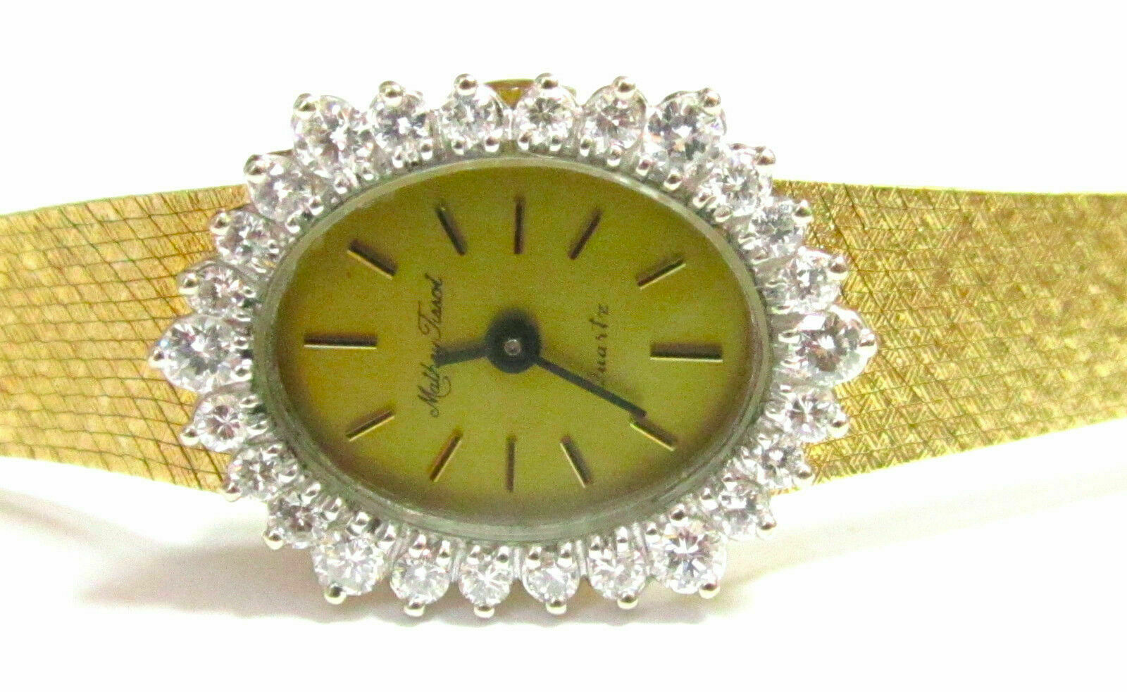 Vintage MATHEY TISSOT 1.80 DIAMOND WATCH 14KT YELLOW GOLD AUTHENTIC