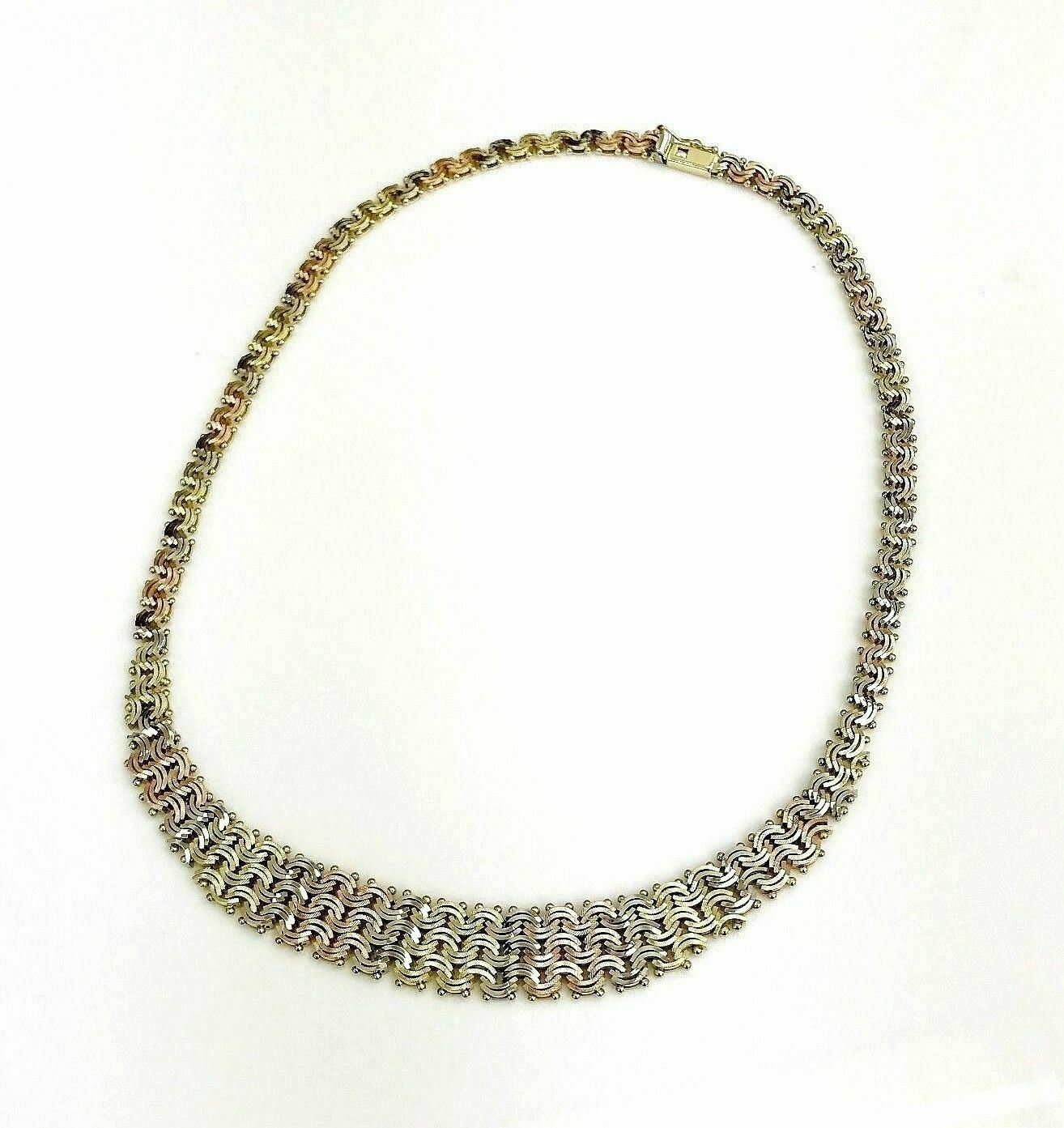 Solid 14 Karat Yellow Rose White Tri Gold Interwoven Diamond Cut Necklace Italy