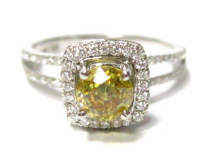 HPHT Fancy Yellow Round Diamond Solitaire Engagement Ring Size 6.5 VVS2 18k WG