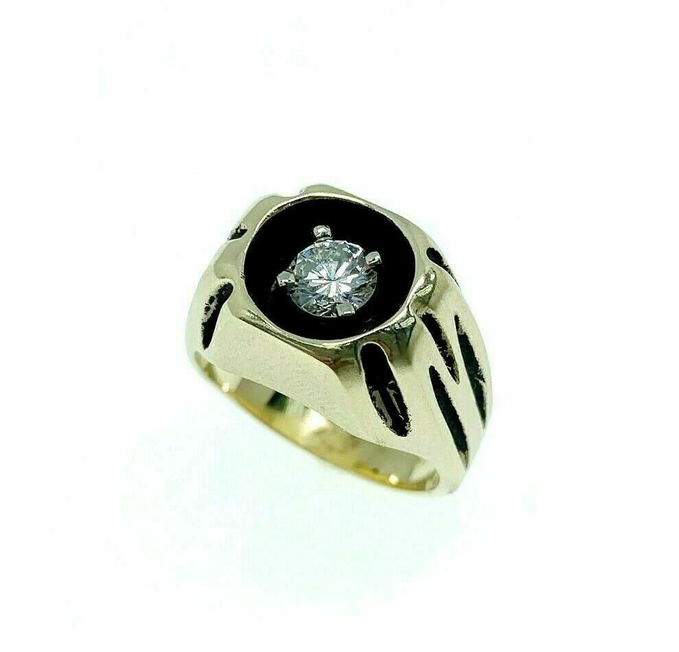0.60 Carat Round Brilliant Diamond Mens Antiqued Signet Ring 14K Gold 14 Grams