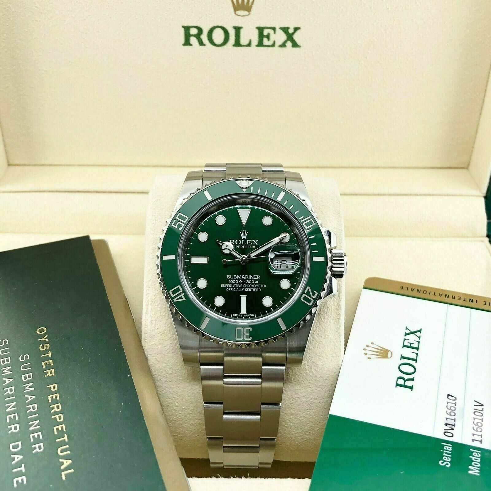 Rolex Ceramic Hulk Submariner Date Stainless Steel Watch Ref 116610LV Box Card