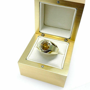 2.72 Carats Round Cut Diamond Signet Mens Ring 18K Yellow Gold 19.2 Grams