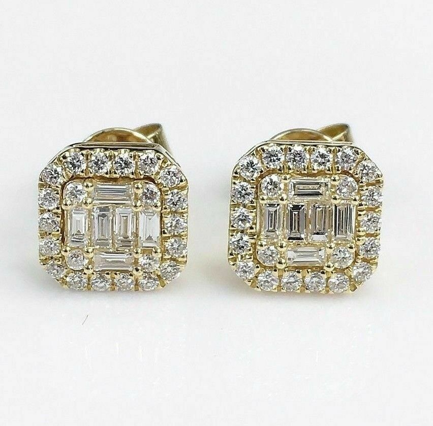 0.58 Carat t.w. Diamond Invisible Set Earrings 18K Yellow Gold Brand New