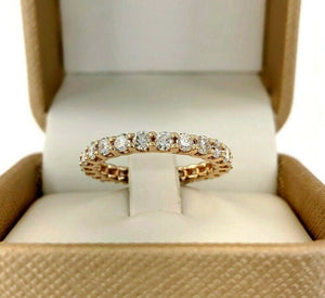 1.58 Carats t.w. Round Diamond Stack/Eternity Ring Wedding Band 14K Rose Gold