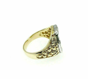 0.70 Carats t.w. Mens Diamond HorseShoe Nugget Ring 14K Two Tone Gold 10 Grams