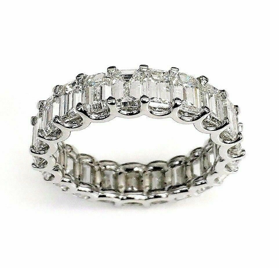 5.61 Carats Emerald Cut Diamond Eternity Band Platinum Size 6 U Shape Setting