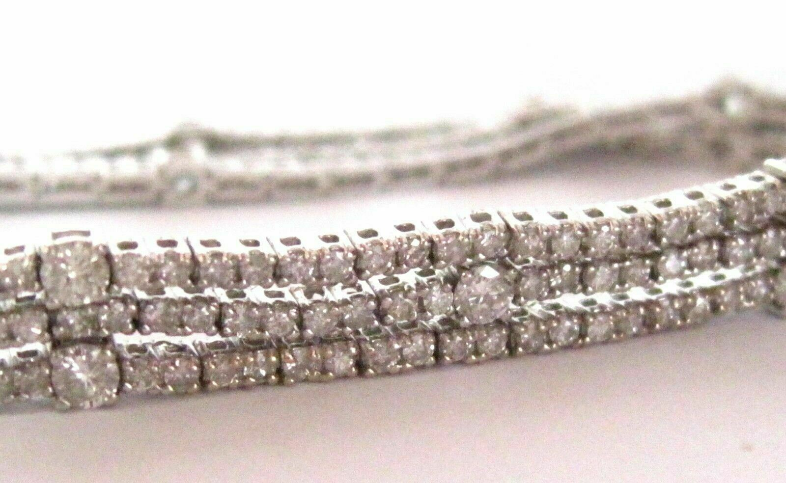 5.33 TCW 3 Strings Round Brilliant Cut Diamond Tennis Bracelet 18kt White Gold