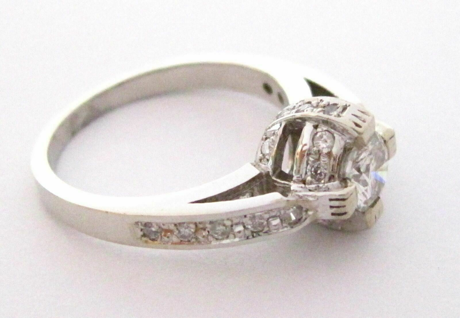 .83 TCW Round Brilliant Cut Diamond Cocktail Ring Size 7.5 G SI1 14k White Gold